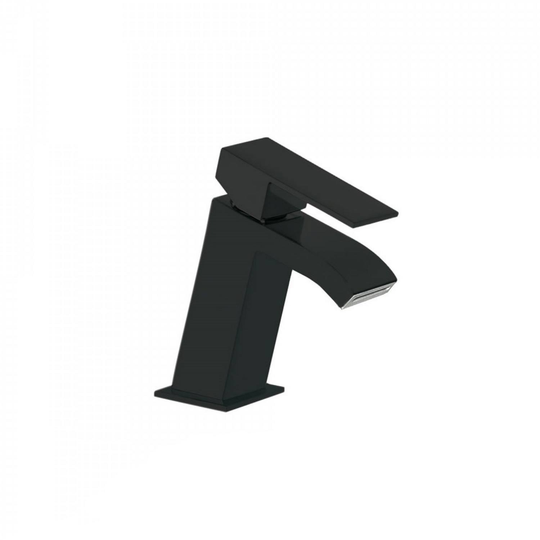 Wastafelmengkraan Tres Cuadro 1-Hendel Uitloop Recht 7.2 cm met Waterval Vierkant Mat Zwart