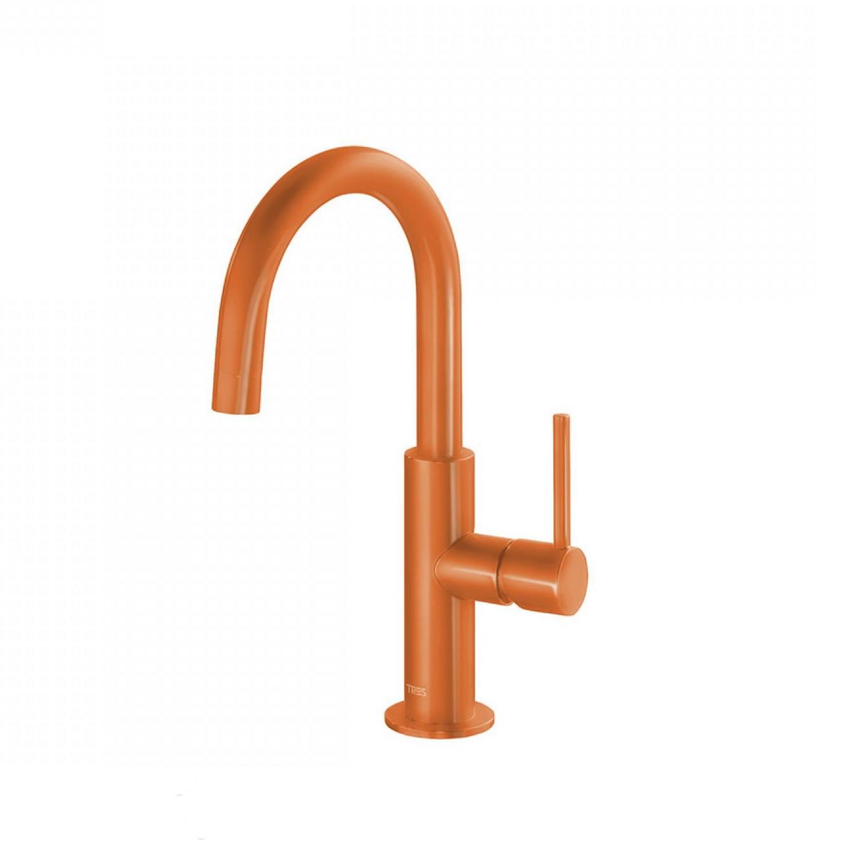 Wastafelmengkraan Tres Study Colors 1-Hendel Uitloop Gebogen 28 cm Rond Oranje voordeel