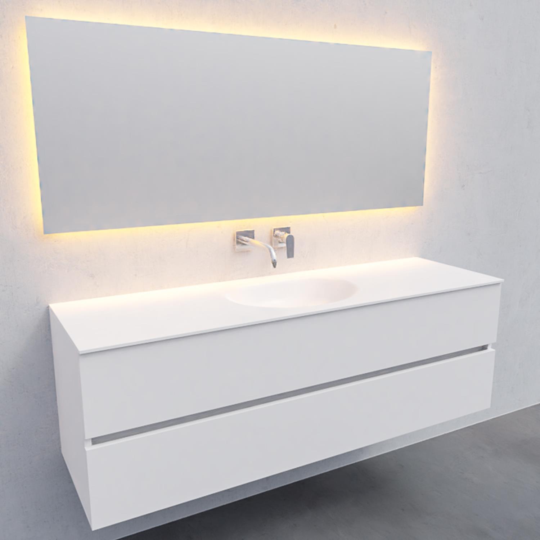 Badkamermeubel Solid Surface BWS Stockholm 150x46 cm Midden Mat Wit (zonder kraangat)