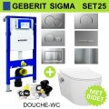 Geberit UP320 Toiletset set25 Wandcloset Idevit Alfa met Bidet Randloos met Sigma drukplaat