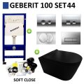 Geberit UP100 Toiletset set44 Civita Black Randloos Mat Zwart Met Delta drukplaat