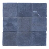 Mozaïek Parquet 10x10 Gray Blue Tumble Marmer 30x30 cm (Prijs per 1m²)