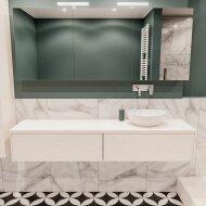 Badkamermeubel BWS Madrid Wit 180 cm met Massief Topblad en Keramische Waskom Rechts (2 lades, 0 kraangaten)