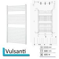 Handdoekradiator Vulsanti 1111 x 600 mm Zilver metallic