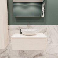 Badkamermeubel BWS Madrid Wit 80 cm met Massief Topblad en Keramische Waskom (1 kraangat)
