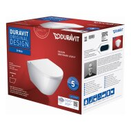 Toilet Duravit D-Neo Wand Set Rimless Diepspoel 54 cm Hoogglans Wit