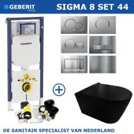 Geberit Sigma 8 (UP720) Toiletset set44 Civita Black Rimless Mat Zwart Met Sigma Drukplaat