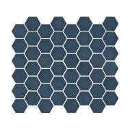 Mozaïek Valencia 27.8x32.5 cm Recycled Glas, Hexagon Mat En Blauw (Prijs Per 1.00 m2)