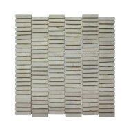 Mozaiek Parquet 1x4.8 30x30 cm Marmer Cream (doosinhoud 1 m2)