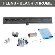Zwarte Chromen RVS Douchegoot Flens met Uitneembaar Sifon BLACK CHROME ROOSTER (alle maten)