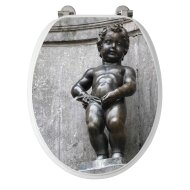 Allibert Toiletzitting 36,7x5x45 cm Geperst Hout Manneken Pis
