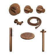 Thermostatisch Inbouwdoucheset Brauer Copper 20cm Hoofddouche Plafondarm Staafhanddouche Koper