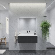 Badkamermeubelset Gliss Eros 90 cm Met Wastafel Zwart Eiken