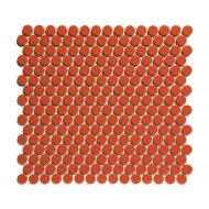 Mozaïek Venice Pennyround 31.5x29.4 cm Geglazuurd Porselein, Rond Glanzend Oranje (Prijs Per 0.93 m2)