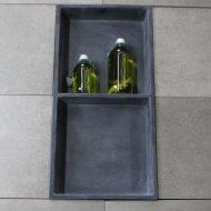 Inbouwnis Luca Sanitair 59,5x29,5x8cm Polystone 2 Vakken Rechthoek Antraciet