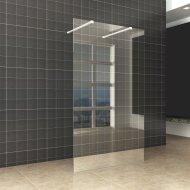 BWS Vrijstaande Inloopdouche Pro Line Helder Glas met Twee Stabilisatiestangen Mat Wit