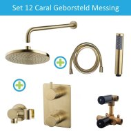 Wiesbaden Inbouw Regendouche Set 12 Caral Muuruitloop Geborsteld Messing