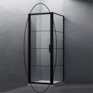 BWS Nisdeur Frame 80x200 cm 8 mm NANO Glas Mat Zwart Raster