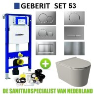 Geberit UP320 Toiletset Set53 Wandcloset Salenzi Civita Mat Grijs Sigma Drukplaat