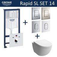 Grohe Rapid SL Toiletset set14 B&W Zero Diepspoel met Grohe Arena of Skate drukplaat