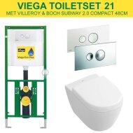 Viega EcoPlus toiletset 21 V&B Subway 2.0 Compact 48cm met Visign for Style 10 drukplaat