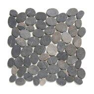 Mozaïek Natural Stone 30x30 cm Ongeïmpregneerd Pebbels, Marmer Donker Grijs (Prijs Per 1.00 m2)