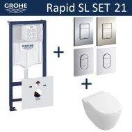 Grohe Rapid SL Toiletset set21 Villeroy & Boch Subway 2.0 Compact met Grohe Arena of Skate drukplaat