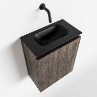 MONDIAZ TURE 40cm toiletmeubel dark brown. EDEN wastafel urban midden geen kraangat