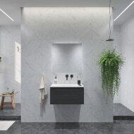 Badkamermeubelset Gliss Eros 60 cm Met Wastafel Zwart Eiken