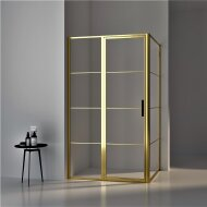 BWS Douchecabine Frame 120x100 cm 8 mm NANO Glas Geborsteld Messing Goud
