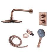 Inbouw Regendouche Set BWS Copper met Wanduitloop en 3 Standen Handdouche Geborsteld Koper 20 cm