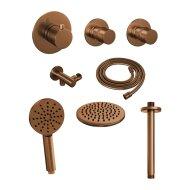 Thermostatisch Inbouwdoucheset Brauer Copper 20cm Hoofddouche Plafondarm 3 Standen Handdouche Koper