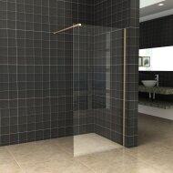 BWS Inloopdouche Pro Line Helder Glas 75x200 Geborsteld Messing Goud Profiel en Stang