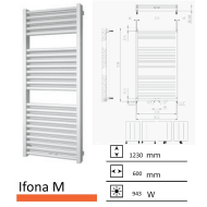 Badkamerradiator Ifona M 1230 x 600 mm Zwart grafiet (Black graphite)