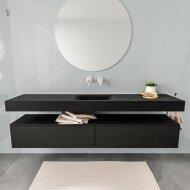 Badkamermeubel BWS Ibiza 200 cm Twee Soft-Close Lades Solid Surface Wastafel Mat Zwart (acht varianten)