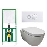 Viega EcoPlus toiletset 31 Sanilux Easy Flush Randloos 48cm compact met Visign for Style 10 drukplaat