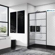 Inloopdouche Novellini Kuadra H Stripes 160x200 cm Helder Glas Mat Zwart Profiel