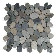 Mozaiek Mat Pebble Sliced Tumb Honed S Greeny Swarthy Sea Stone 30x30 cm