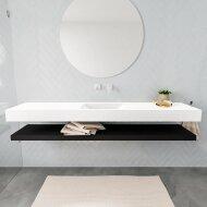 Badkamermeubel BWS Ibiza 200 cm met Mat Zwart Planchet Solid Surface Wastafel Mat Wit (acht varianten)