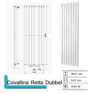 Designradiator Plieger Cavallino Retto Dubbel 1549 Watt Middenaansluiting 180x60,2 cm Donkergrijs Structuur