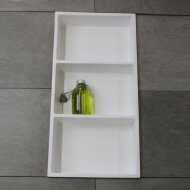 Inbouwnis Luca Sanitair 59,5x29,5x8 cm Polystone 3 Vakken Rechthoek Glans Wit