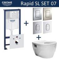 Grohe Rapid SL Toiletset set07 Wiesbaden Prio Randloos met Grohe Arena of Skate drukplaat