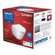 Toilet Duravit D-Neo Wand Compact Set Rimless Diepspoel 48 cm Hoogglans Wit