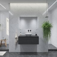 Badkamermeubelset Gliss Eros 120 cm Zwart Eiken Met 1 Lade Met Waskom