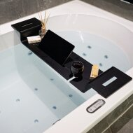 Badplank BWS met Ipad en Wijnglashouder Acryl Mat Zwart
