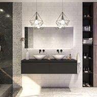 Badkamermeubelset Gliss Eros 160 cm Mat Zwart Met Waskom