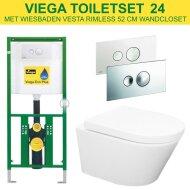 Viega EcoPlus Toiletset 24 Wiesbaden Vesta Rimless 52cm met Visign for Style 10 drukplaat