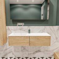 Badkamermeubel BWS Madrid Washed Oak 120x45x30 cm Mat Witte Solid Surface Wastafel Links (2 lades, 0 kraangaten)