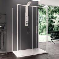 Douchecabine Lacus Torcello 140 cm Helder Glas Met Schuifdeur Aluminium Profiel Wit (2 Zijwanden)