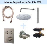 Inbouw Regendouche Set Klik 2-Wegs RVS (Muuruitloop)
